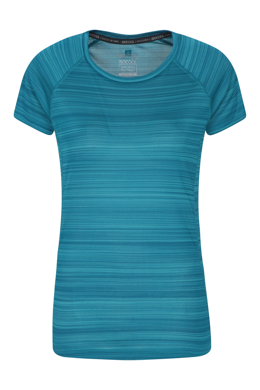 Endurance Damen T-Shirt - Gestreift - Dunkel Türkis