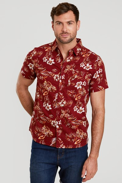 Tropical Printed Mens Short Sleeved Shirt - Burgundy