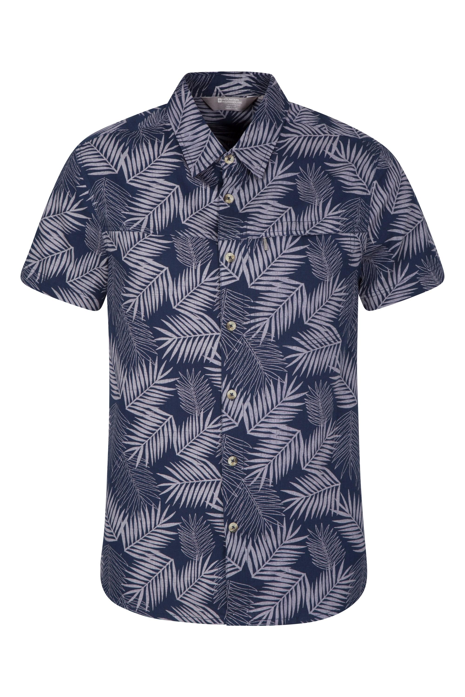 Tropical Printed Mens Short Sleeved Shirt - Dark Blue