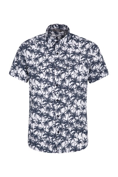 Tropical Printed Mens Short Sleeved Shirt - Blue