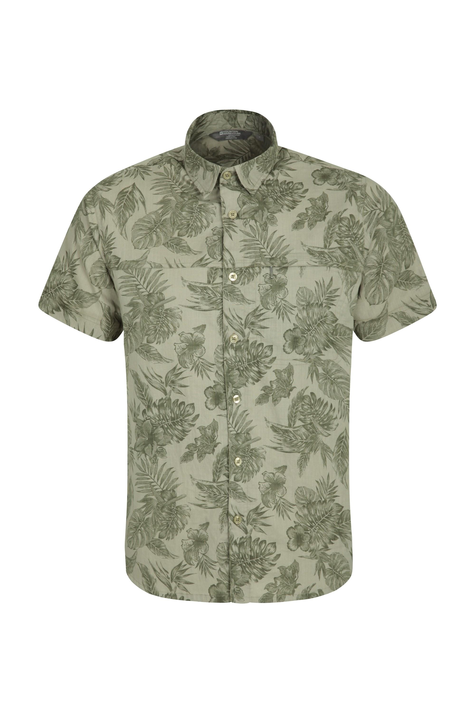 Tropical Printed Mens Short Sleeved Shirt - Green