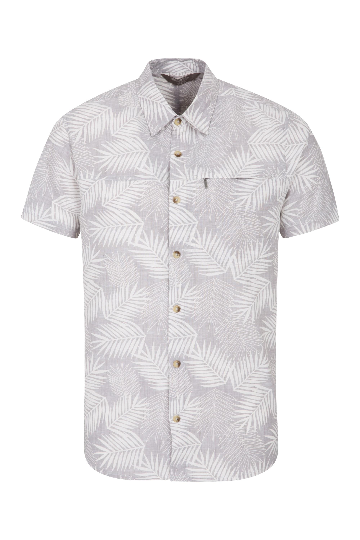 Tropical Printed Mens Short Sleeved Shirt - Grey