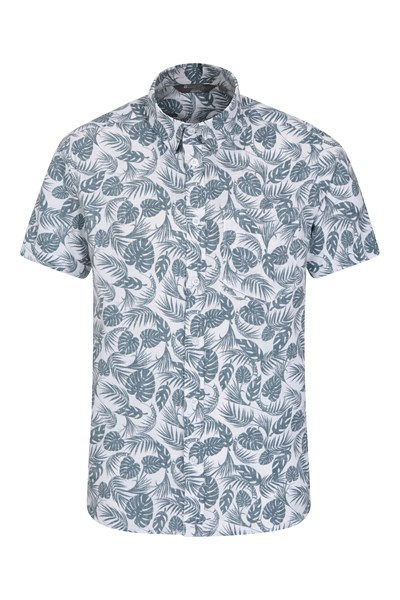 Tropical Printed Mens Short Sleeved Shirt - Teal