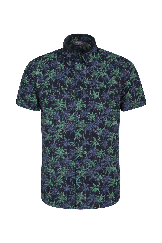Tropical Printed Mens Short Sleeved Shirt - Blue