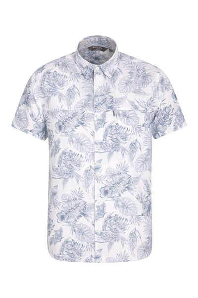 Tropical Printed Mens Short Sleeved Shirt - White