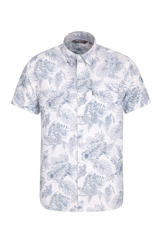 Tropical Printed Mens Short Sleeved Shirt - White