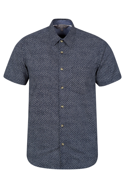Cactus Mens Printed Short Sleeved Shirt - Navy