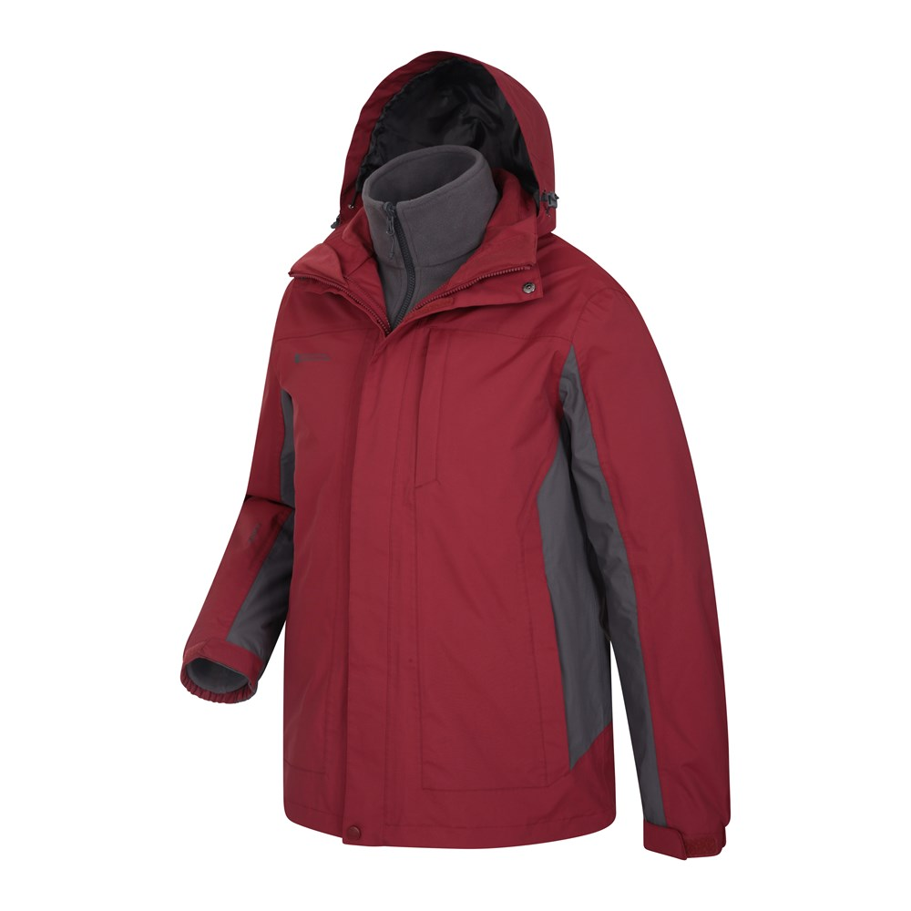 Mountain Warehouse Mens Thunderstorm 3 in 1 Waterproof Jacket w// Antipill Cover