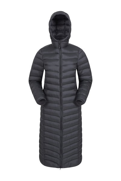 Florence Womens Extra Long Padded Jacket - Charcoal