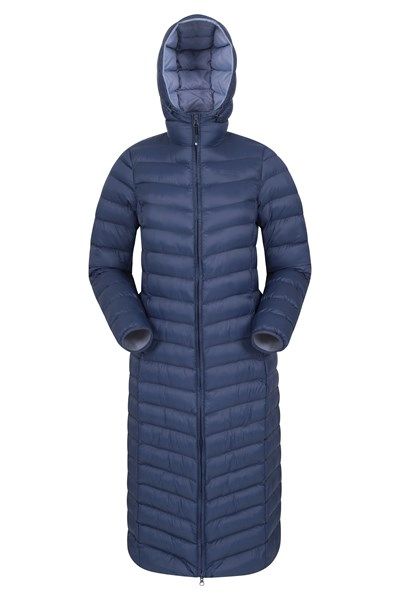 Florence Womens Extra Long Padded Jacket - Navy