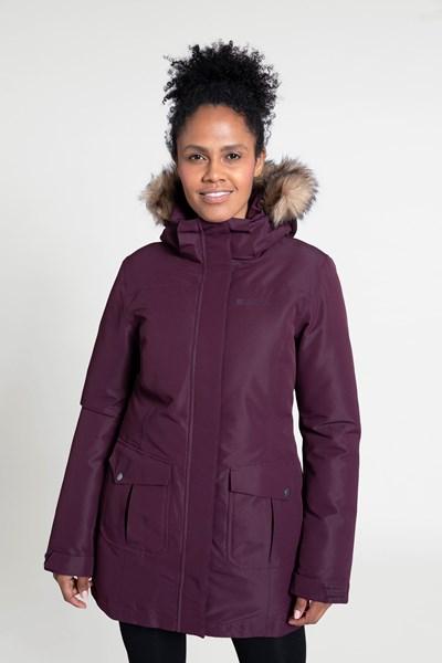Tarka Womens Long Padded Jacket - Burgundy