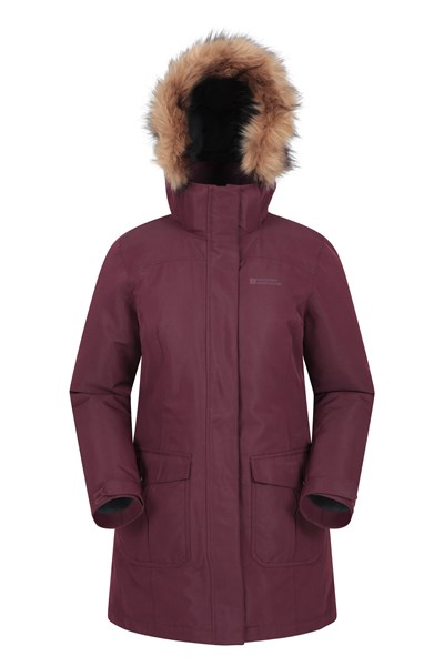 Tarka Womens Long Padded Jacket - Burgundy