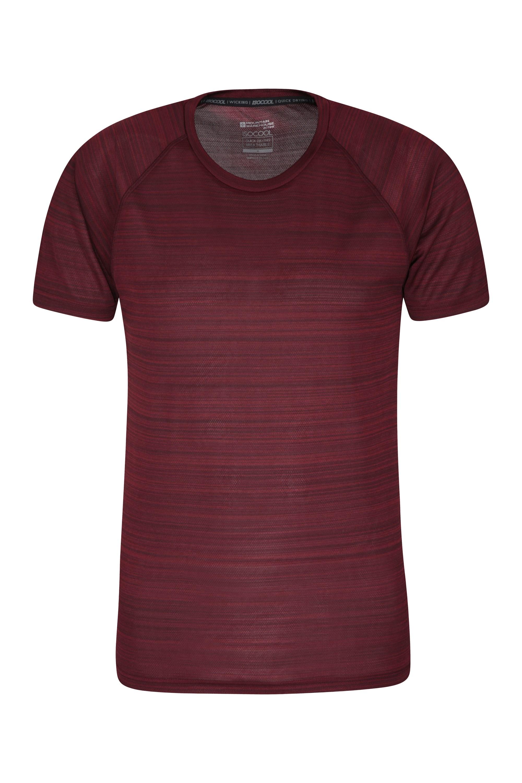 Endurance Striped Mens T-Shirt - Dark Red