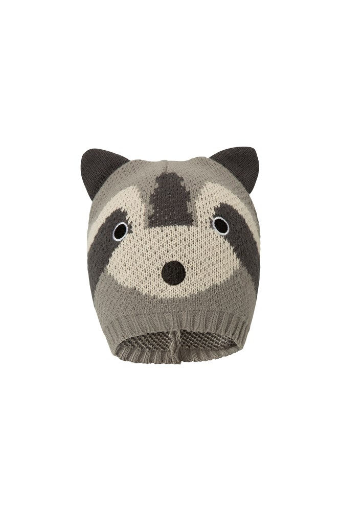Racoon Knitted Kids Hat - Grey