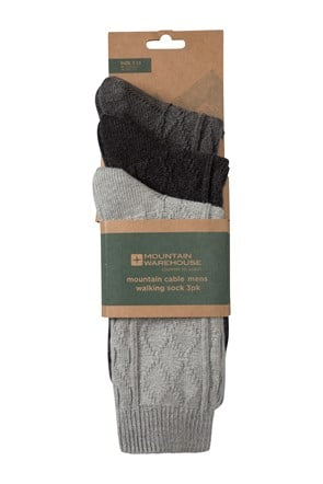Mountain Cable Mens Socks - 3 Pk