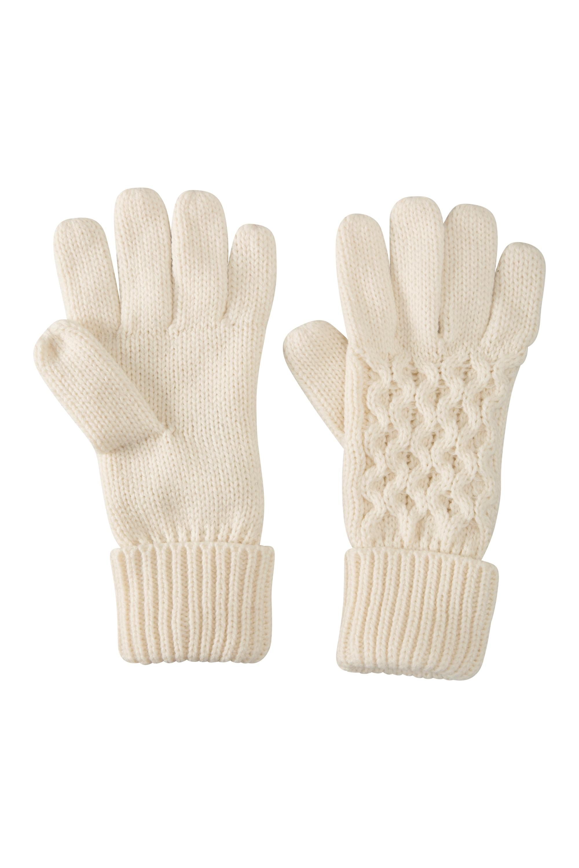 Alaska Knitted Womens Gloves - Cream