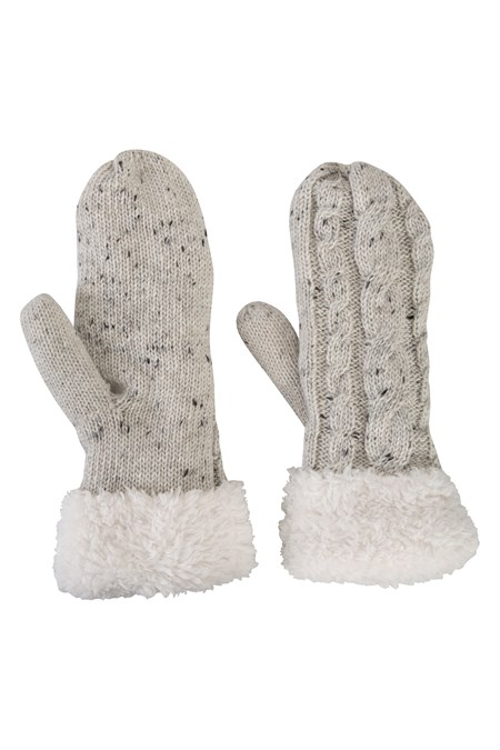 Womens Fleece Lined Cable Knit Mittens  Mountain Warehouse Gb-6592