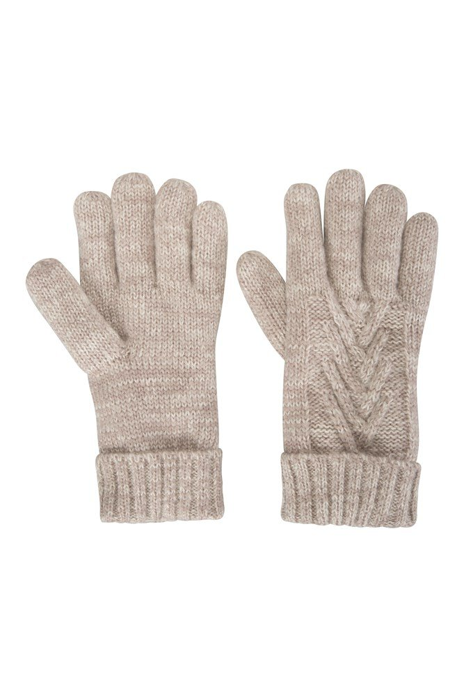 Thinsulate Cable Knit Womens Gloves - Beige