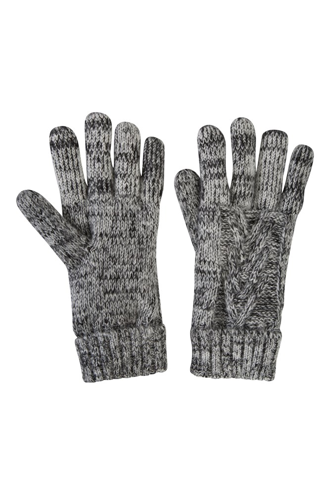 Thinsulate Cable Knit Womens Gloves - Black