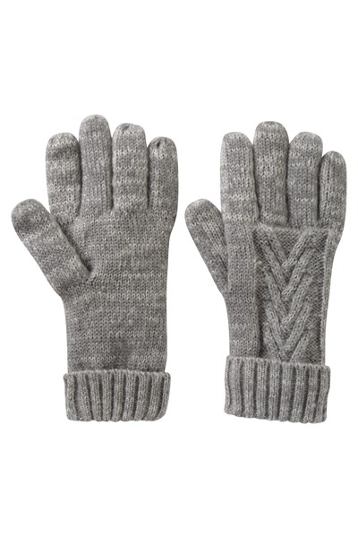 Thinsulate Cable Knit Womens Gloves - Grey