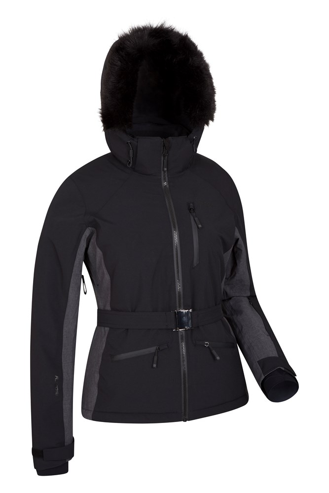 Black snow jacket with fur hood