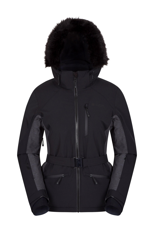 Womens black snow jacket with fur hood