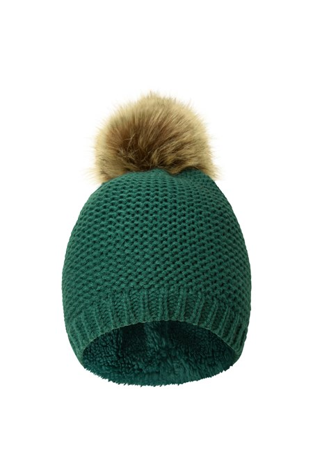 Geneva Fur Lined Womens Fluff Beanie - Dark Green 8da3793ff51