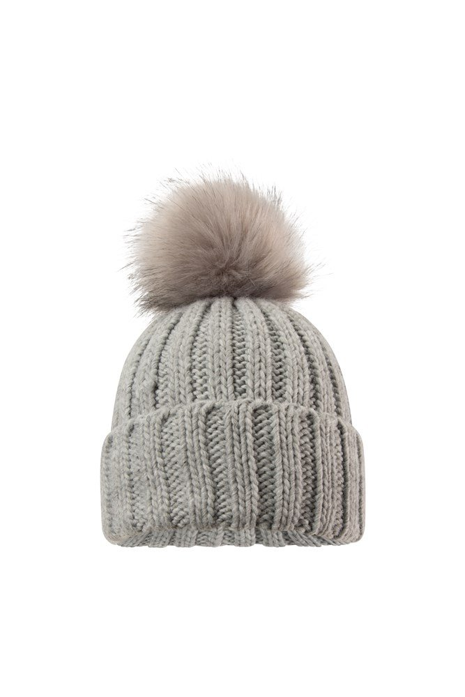 Geneva Womens Fluff Cable Beanie - Grey
