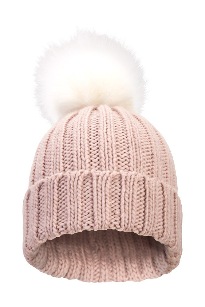 Geneva Womens Fluff Cable Beanie - Pink