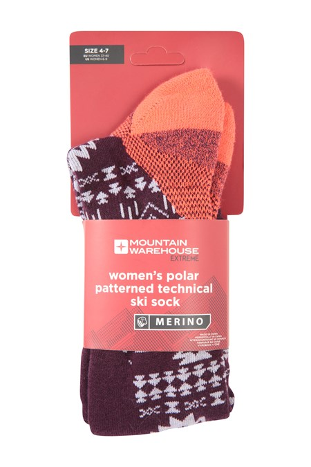 025607 POLAR PATTERNED WOMENS TECHNICAL SKI SOCK