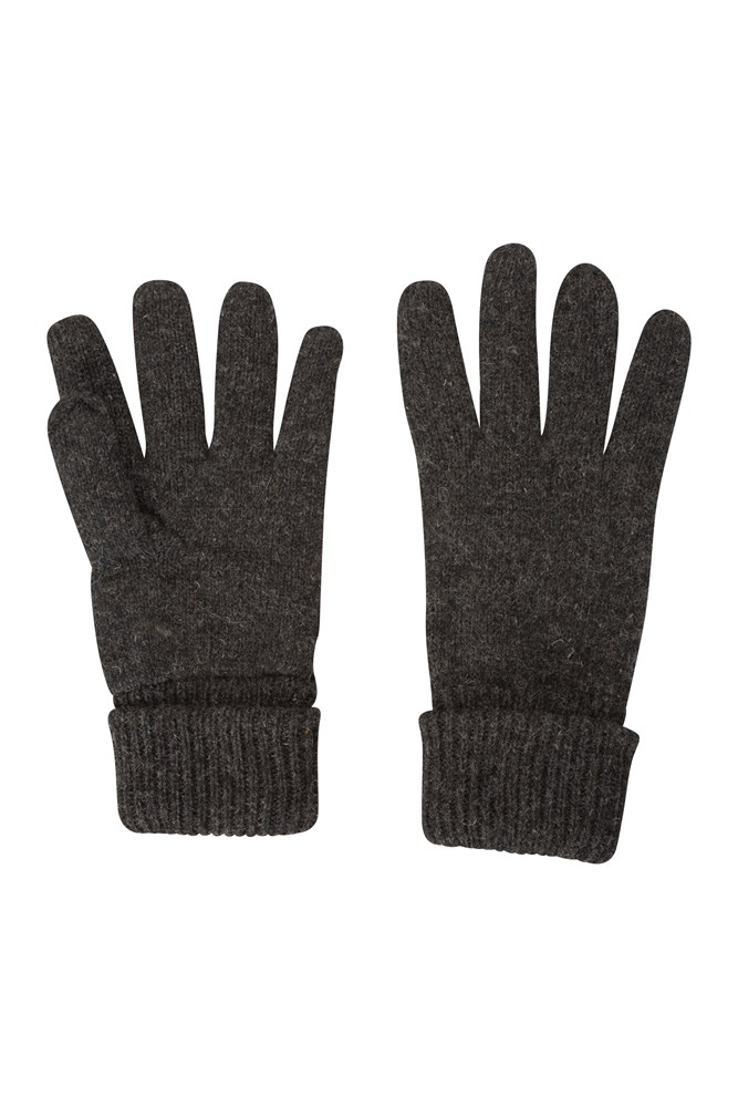 Thinsulate Knitted Mens Wool Gloves - Grey