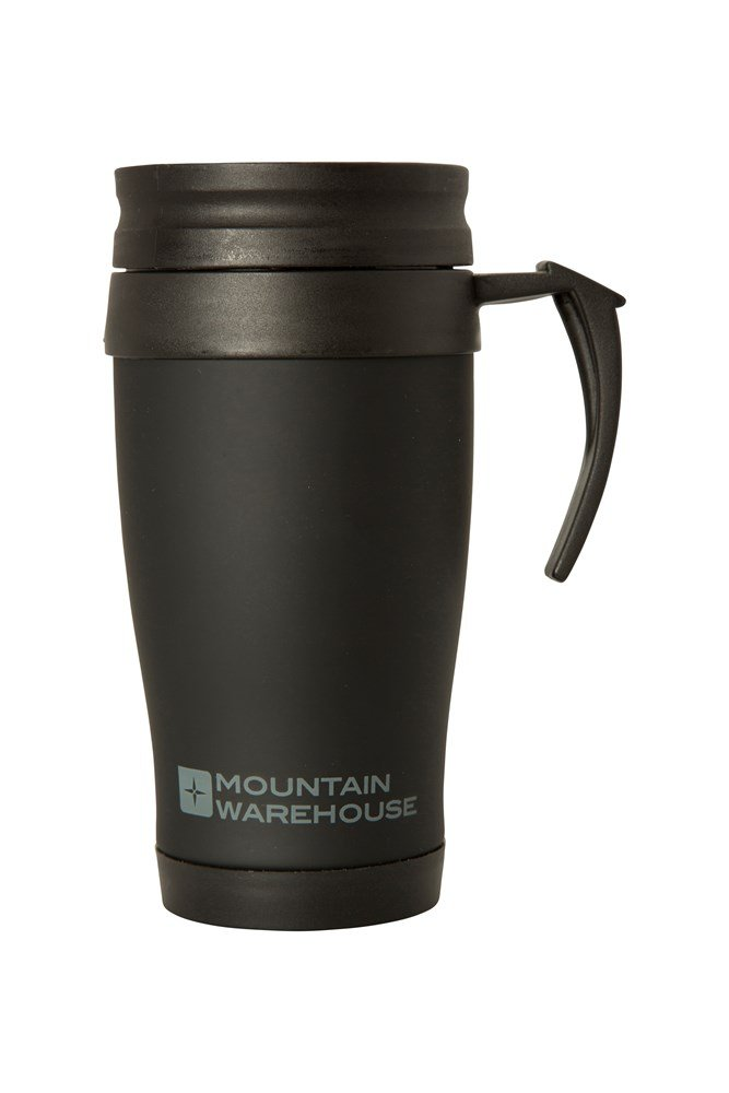 Rubber Feel Travel Mug with Handle - 420ml - Black