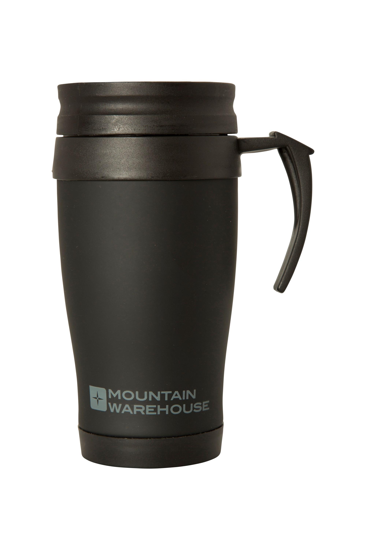 Rubber Feel Travel Mug with Handle - 420ml - Black