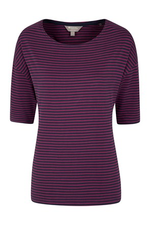 Elm Womens Striped Boat Neck Top