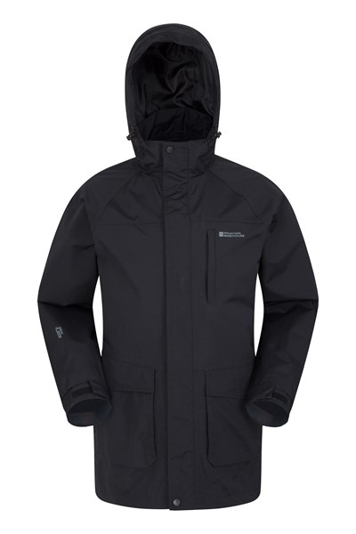 Glacier II Mens Long Waterproof Jacket - Black