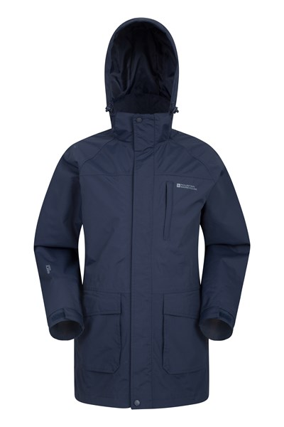 Glacier II Mens Long Waterproof Jacket - Navy
