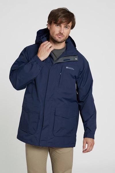Glacier II Mens Long Waterproof Jacket - Navy