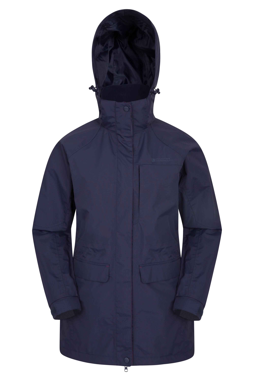 Glacier II Womens Long Waterproof Jacket - Navy