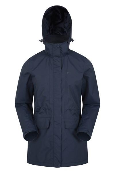 Glacial Womens Long Waterproof Jacket - Dark Blue