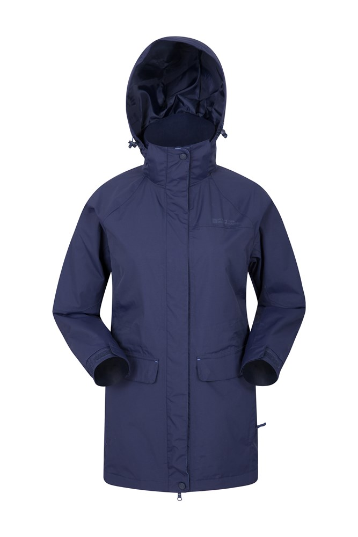 Glacial Womens Long Waterproof Jacket - Navy