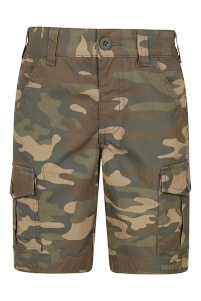 Camo Cargo Kids Shorts - Beige