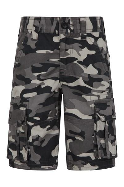Camo Cargo Kids Shorts - Black