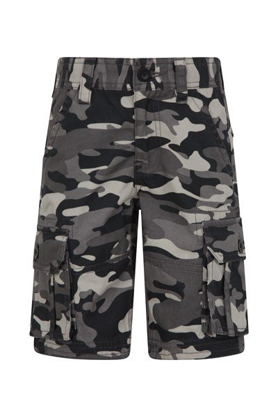 Camo Cargo Kids Shorts - Black