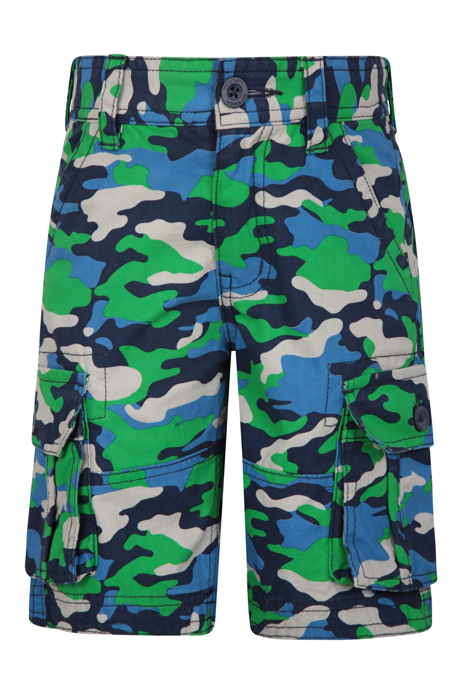 Camo Cargo Kids Shorts - Green