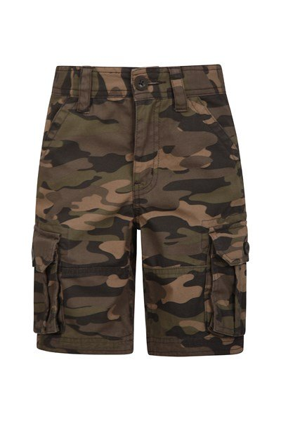 Camo Cargo Kids Shorts - Green