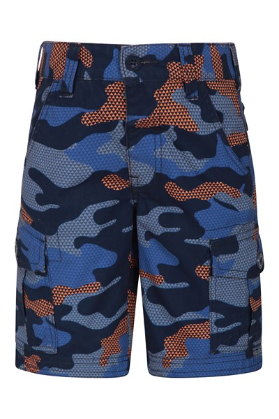 Camo Cargo Kids Shorts - Orange