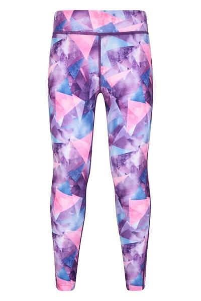 Printed Kids Leggings - Purple