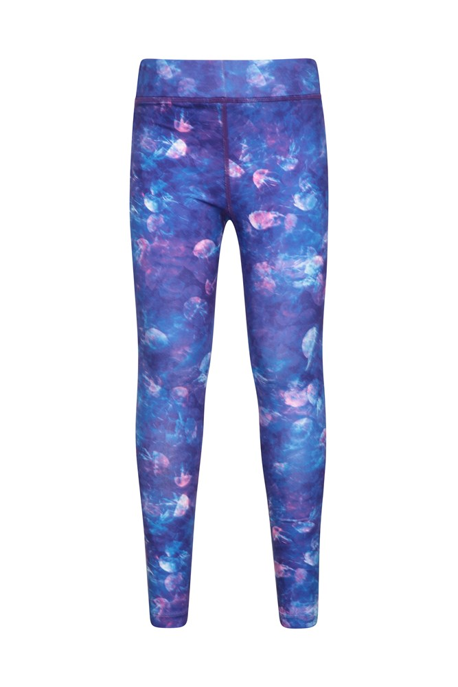 Printed Kids Leggings - Purple