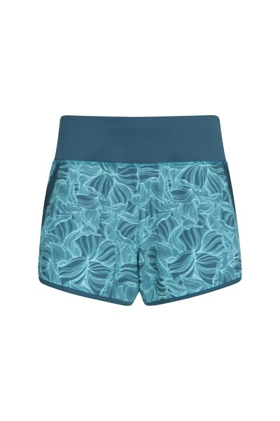 Zakti Womens Racing Heart Run Shorts - Teal