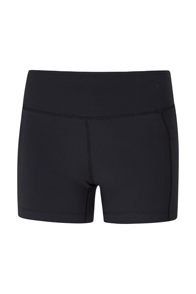 Zakti Womens Get The Message Yoga Short Shorts - Black